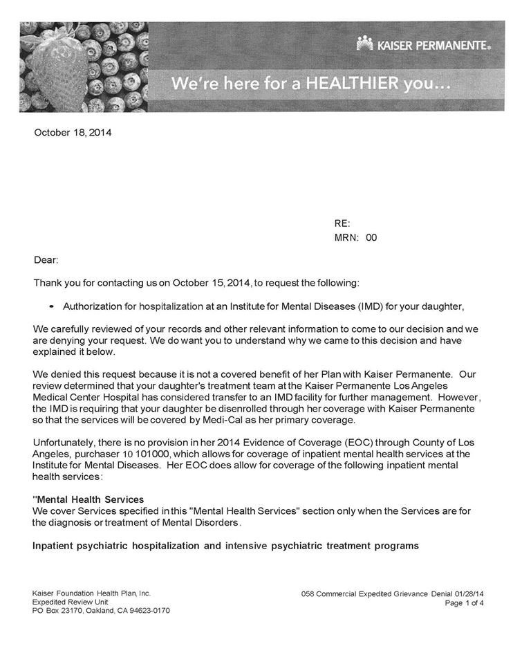 Proof That Kaiser Is Dumping Psychiatric Patients On The Taxpayers